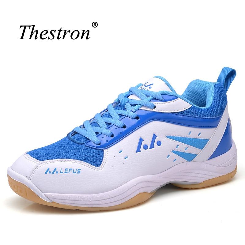 Thestron Badminton Shoes For Men Women Blue Yellow Couples Shoes For Tennis Training Anti-Slip Men Shoes For Badminton Sport