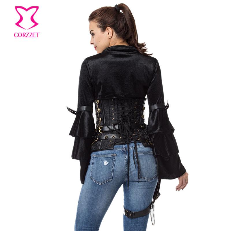 Mëngë të gjata me fanellë të zezë fanellë me xhaketë rrip - Veshje për femra - Foto 5