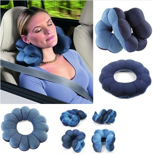 Blue Color Travel Pillow Twist Neck Back Head Cushion Support Massage Flower Shape Pillow Body Relax Cushion neck support nap pillow