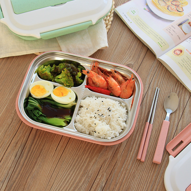 Hot Sale Stainless Steel Lunch Box with spoon Thermos Korean Portable Office Food Container Rectangle School Bento Boxs 1.1L