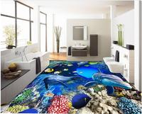 3d sàn tùy chỉnh tùy chỉnh PVC 3d phòng tắm sàn chất liệu thế giới Dưới Nước cave san hô lớn vẽ 3d bức tranh phông nền