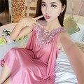 Estilo verão Sólidos Chiffon Temperamento Sexy de Seda Camisola Mulher Pijamas de Renda Menina Verão dressTemptation Princesa camisa da noite