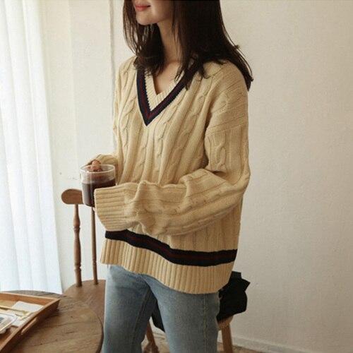 Coréenne Femmes Vêtements Automne Hiver Preppy Style Lâche Chandail Femmes Chic À Tricoter Femmes Épais Plus La Taille Tricoté Pull