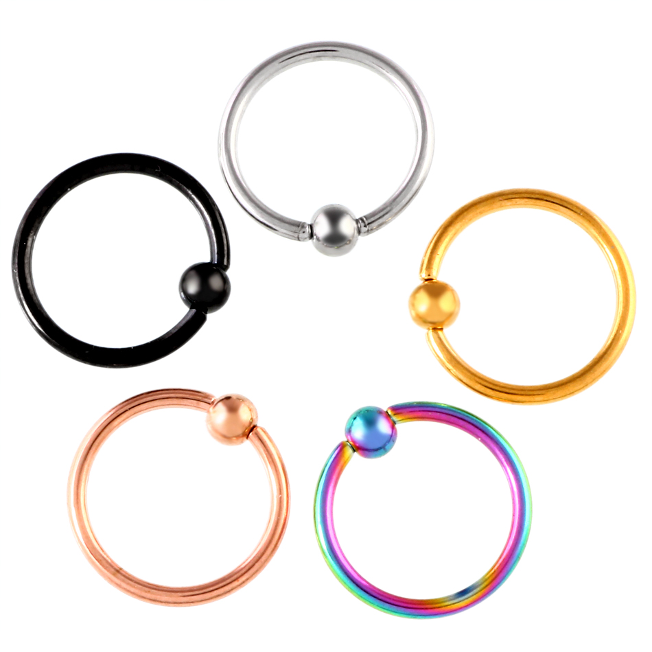 1pc Gold Captive Ring Steel Captive Bead Ring Circular Piercing Bcr Nose  Ring Ear Tragus Septum