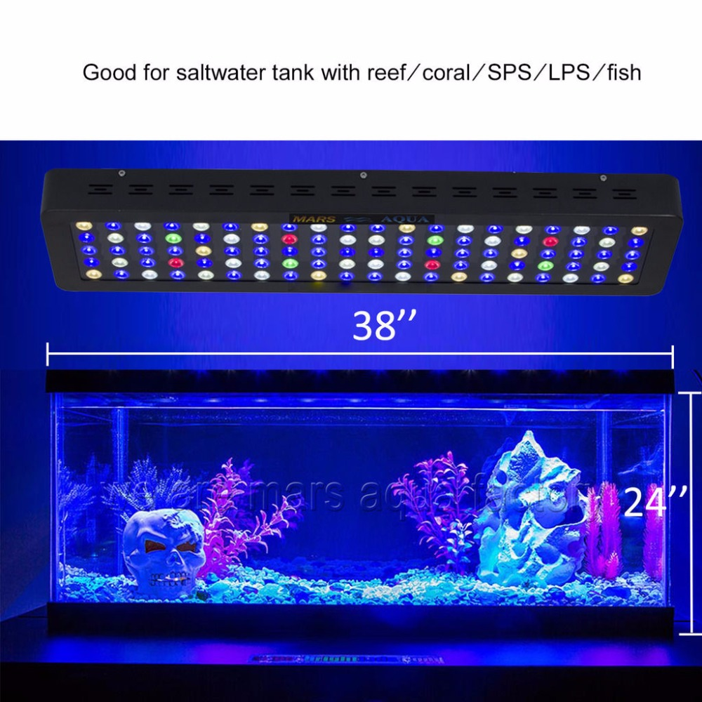 MarsAqua Switchble 300W Marine Aquarium Led Lighting Full Spectrum Led Coral Reef