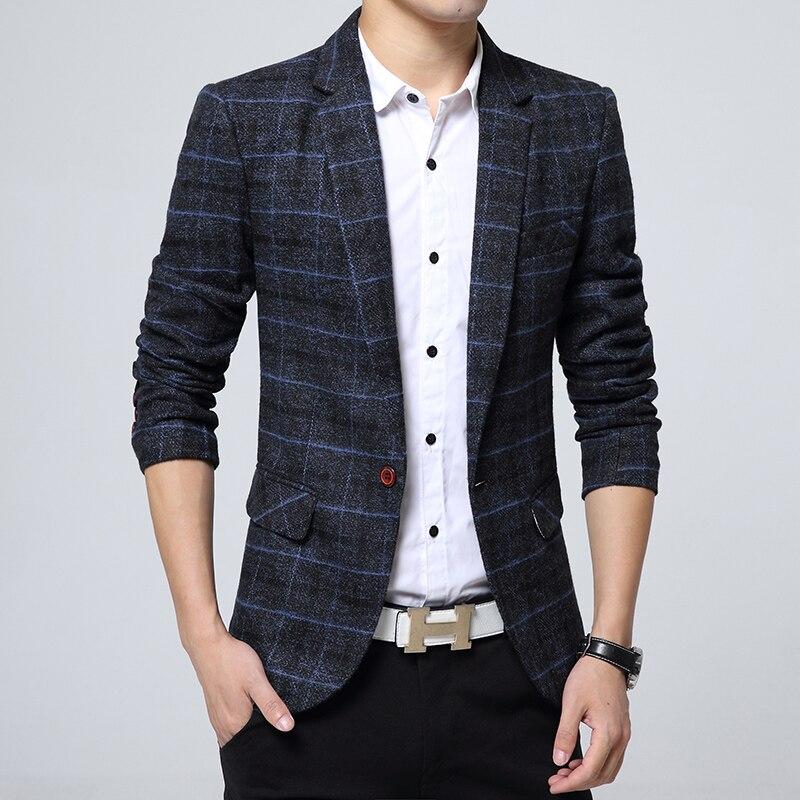2017 New Arrival Business mens blazer Casual Blazers Men lattice Formal jacket Popular Design Men Dress Suit Jackets 1