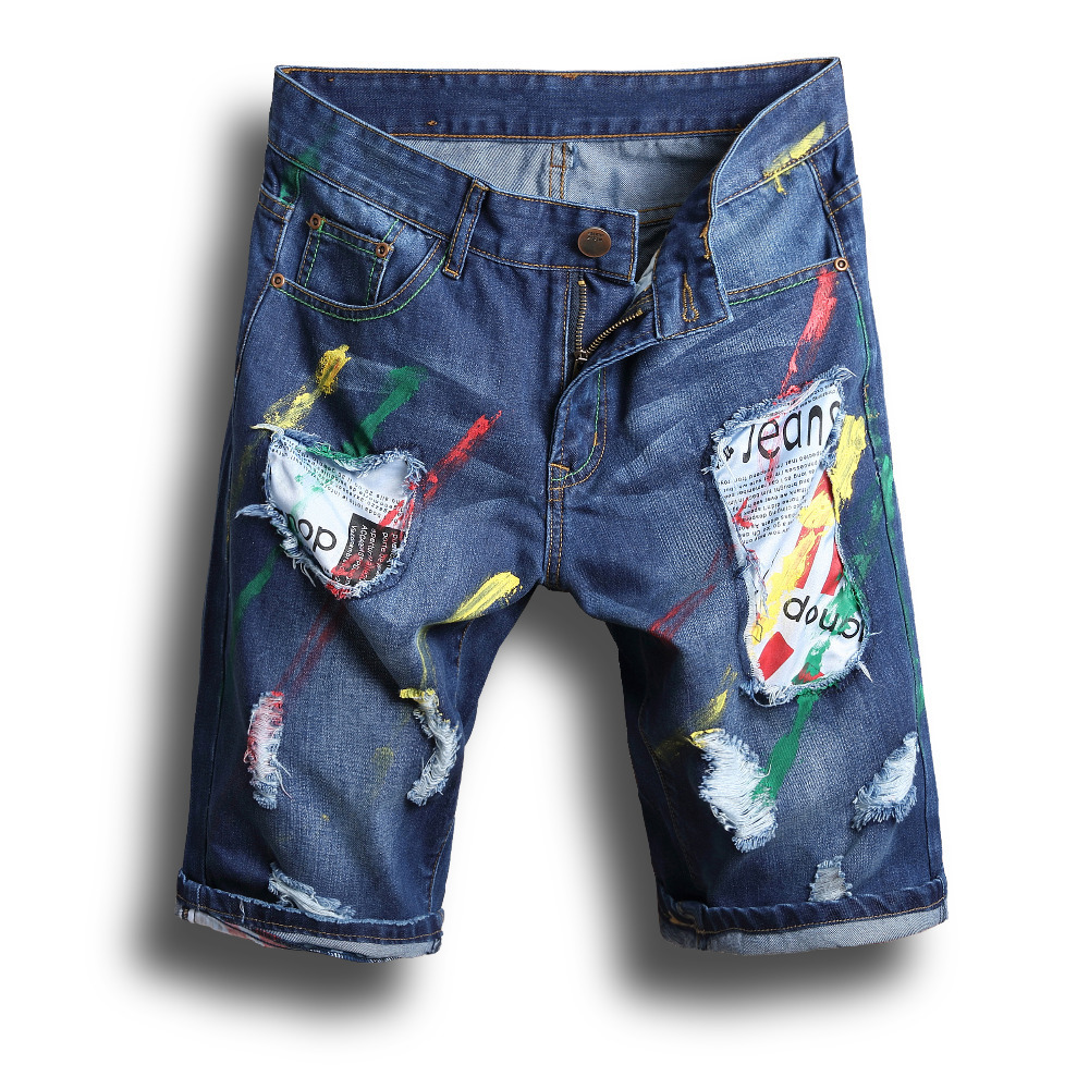 Vintage wash water summer male jeans slim hole short trousers male capris denim