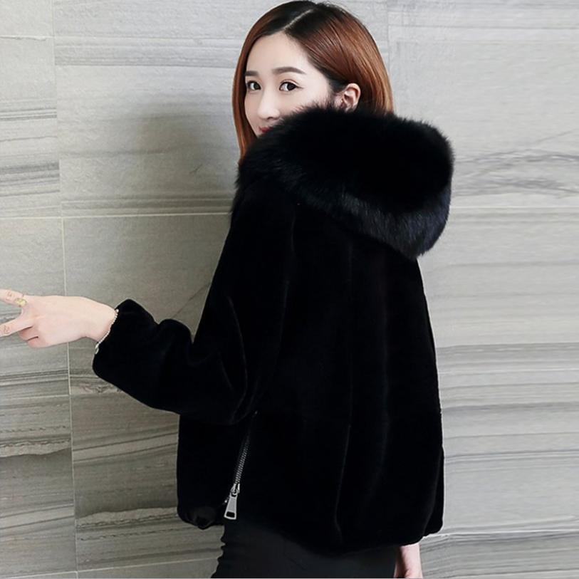 Hiver Col Capuchon Outwear Tonte L1519 Fourrure Manteau Vison Des Mince Chaud Design Black Moutons Veste Femmes Longues De À Pour Mode Manches Faux RIrIpwz