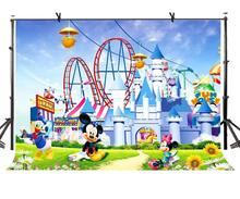 150x220cm Cute Cartoon Backdrop Mickey Mouse Donald Duck Castle Photography BackgroundPhoto Screen