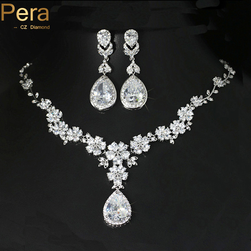 Pera Sparkling Cubic Zirconia Long Dangle Big Flower Drop Shape Pendant Necklace And Earrings Set For