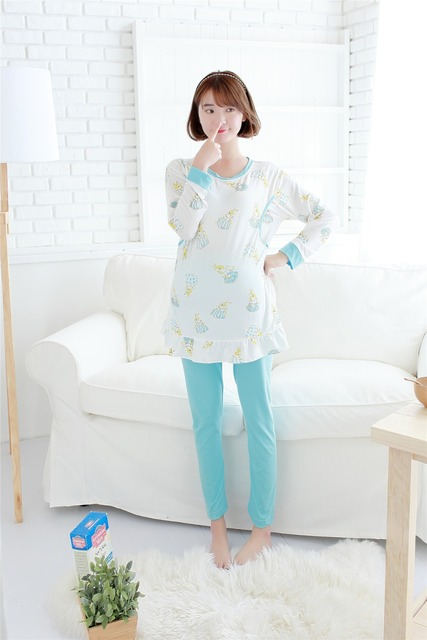 Cotton Maternity Sleepwear Set Fall Pregnant Pajamas Nursing Tops+ Pants Breast Feeding Clothes For Pregnant Women