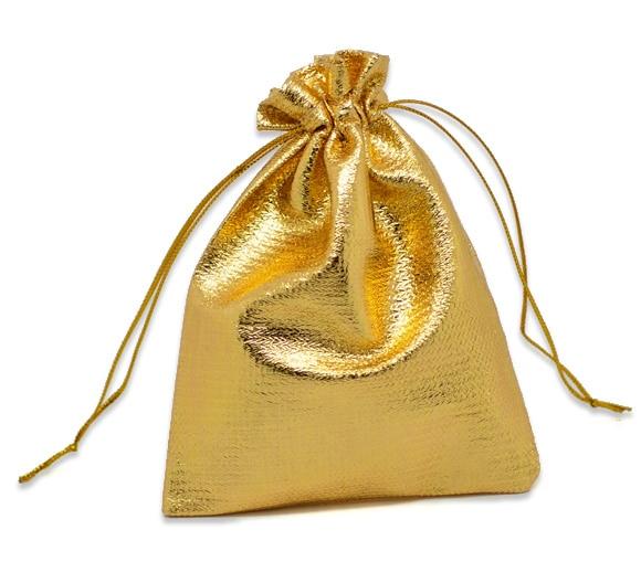 DoreenBeads Terylene Cloth Bags Drawable Rectangle Golden 12cm X9cm(4 6/8