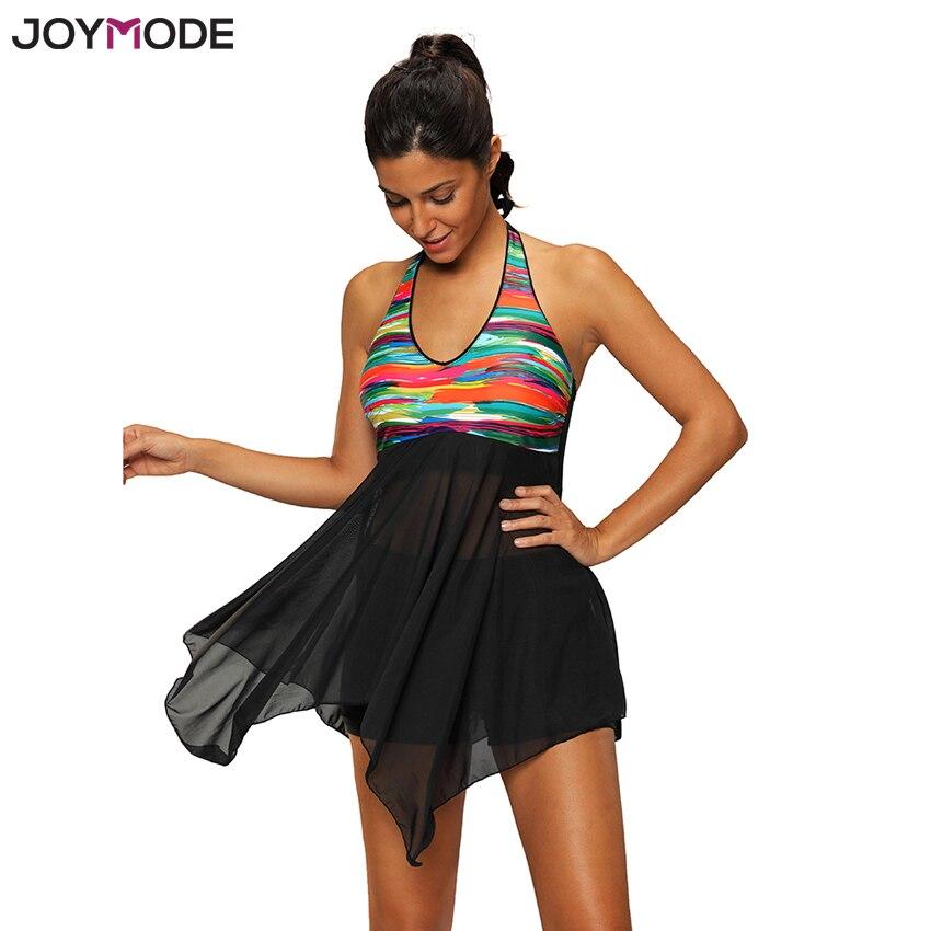 Joymode Two Pieces Swimwear Dress Colorful Patchwork Women -2018