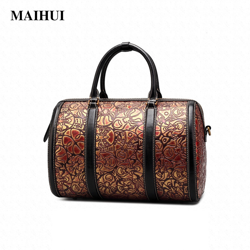 MAIHUI designer handbags high quality shoulder bags new chinese style Top-handle bag real cow genuine leather women boston bags women leather handbags high quality real cow genuine leather bags new fashion chinese style floral shoulder bag casual tote bag