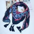 120x120 Women Square Scarf Colorful Paisley Shawls Cotton w/ Tassels Headwear New Arrival