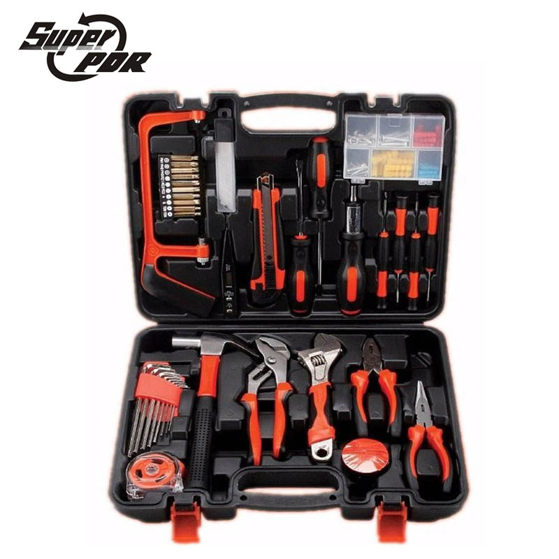 Super PDR Household repair hand Tool Set 100 pcs DIY home Repair Kit Knife saw hammer wrench pliers multifunctional toolbox jumpro mother s day gift 77pc ladies tools pink tool set home tool hammers pliers knife screwdrivers wrenches tapes hand tool