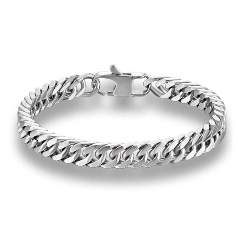 New Arrival Bracelets Silver Color Stainless Steel Curb Cuban Link Chain Bracelets For Men Women Width Jewelry Gift BB-051
