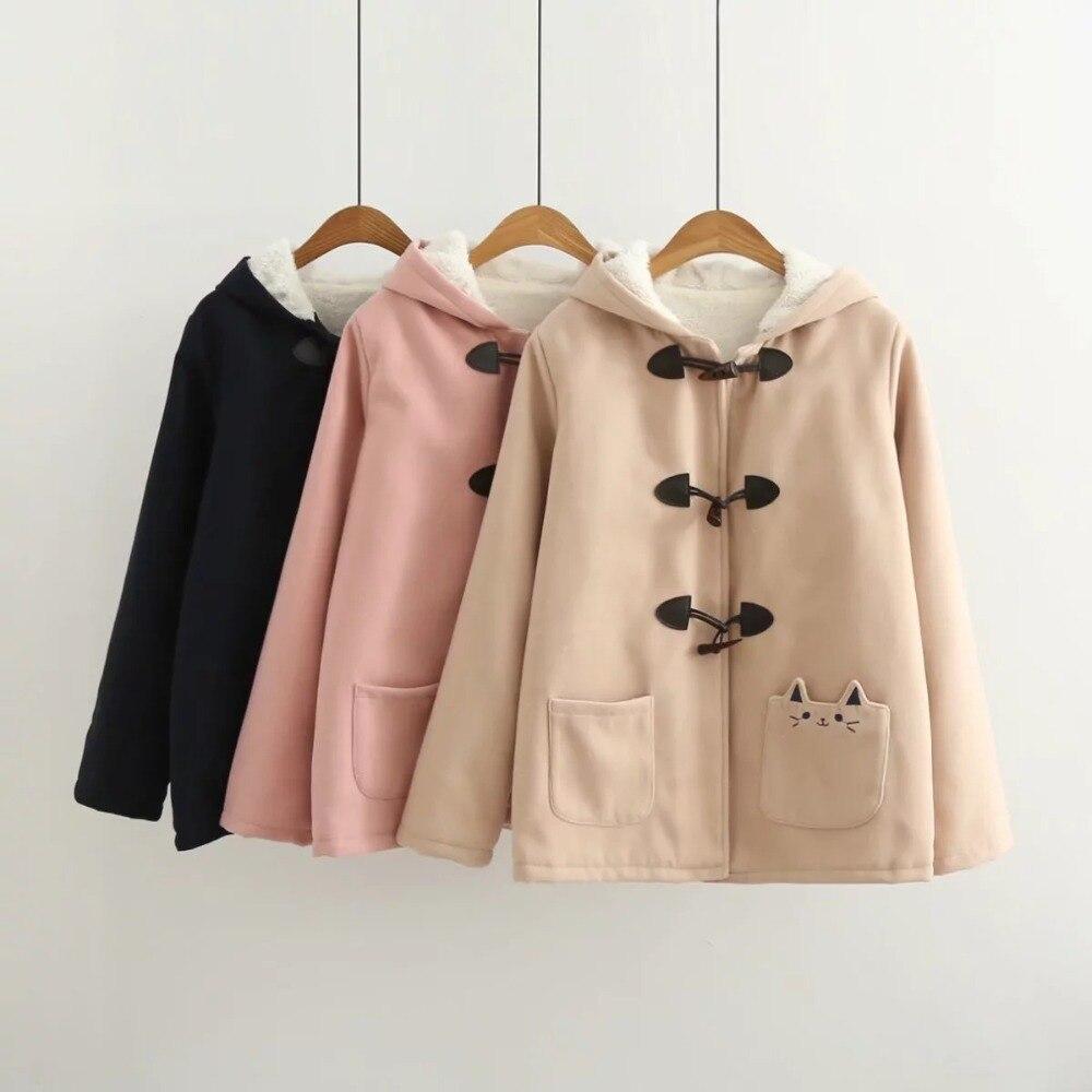Image 2 - Lovely cat pockets warm hooded winter coat women jacket horn  button plus velvet 3colors M,Lwinter coat women plushood wintercoat  women
