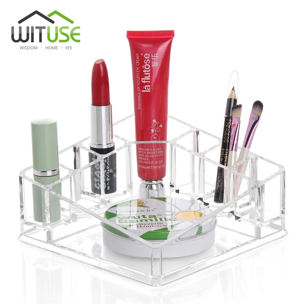 WITUSE Cheap Acrylic Makeup Organizer cosmetic organiser lipstick holder case make up transparent acrylic holder storage box