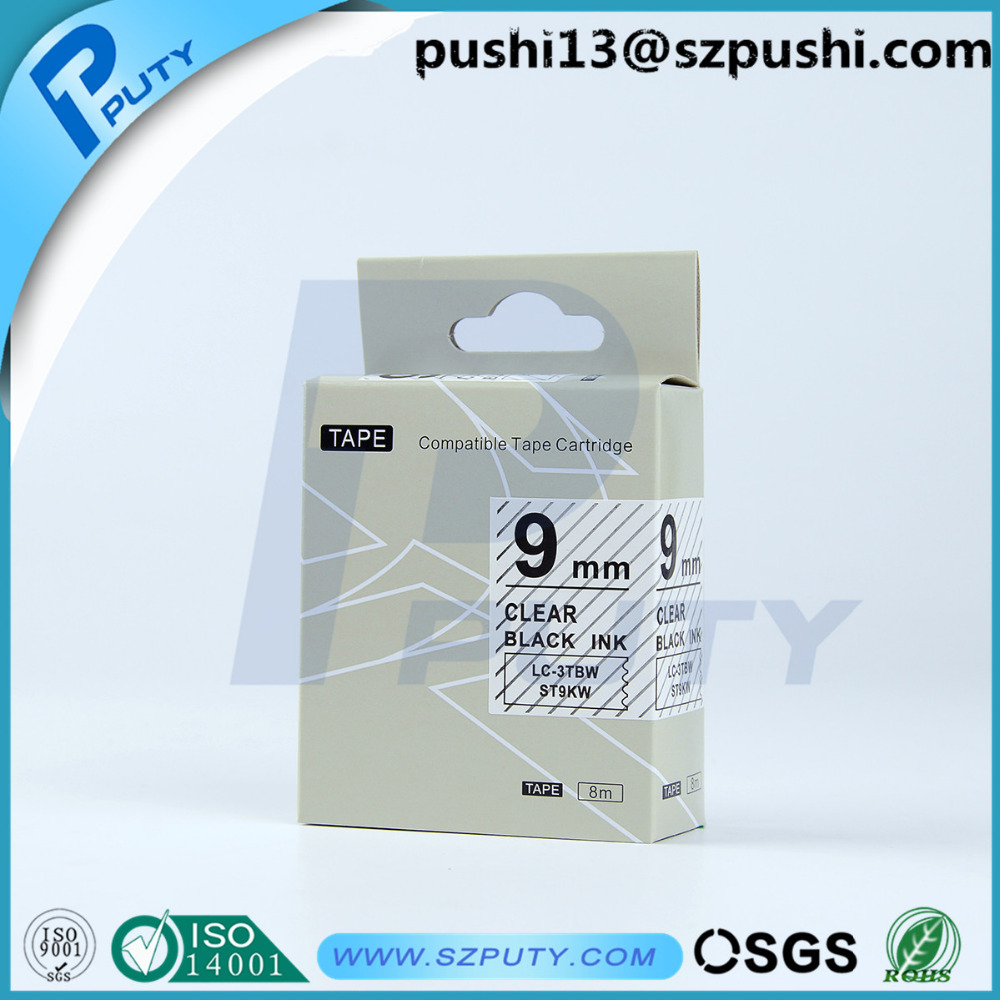 2PK Compatible for EPSON LC-3WBN Label Tape Black on white 9mm 8m LW400 LW500 60