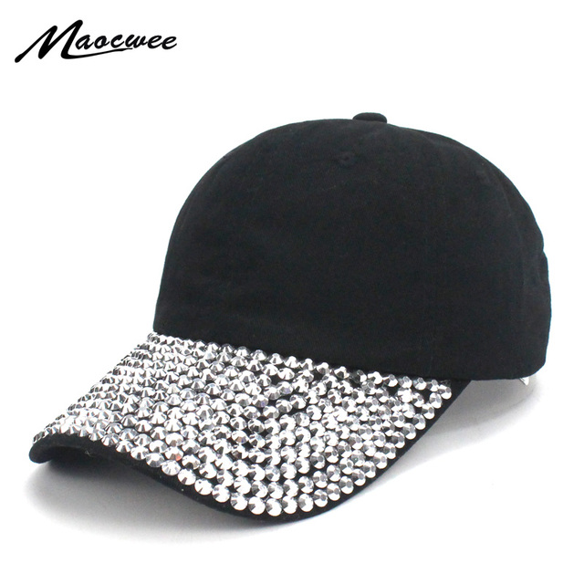 Black Fashion Women S Rhinestone Hats Luxury Female Baseball Cap Bling Diamond  Cap Swag Casquette Girl Snap Back Gorras 2018 3453469f7