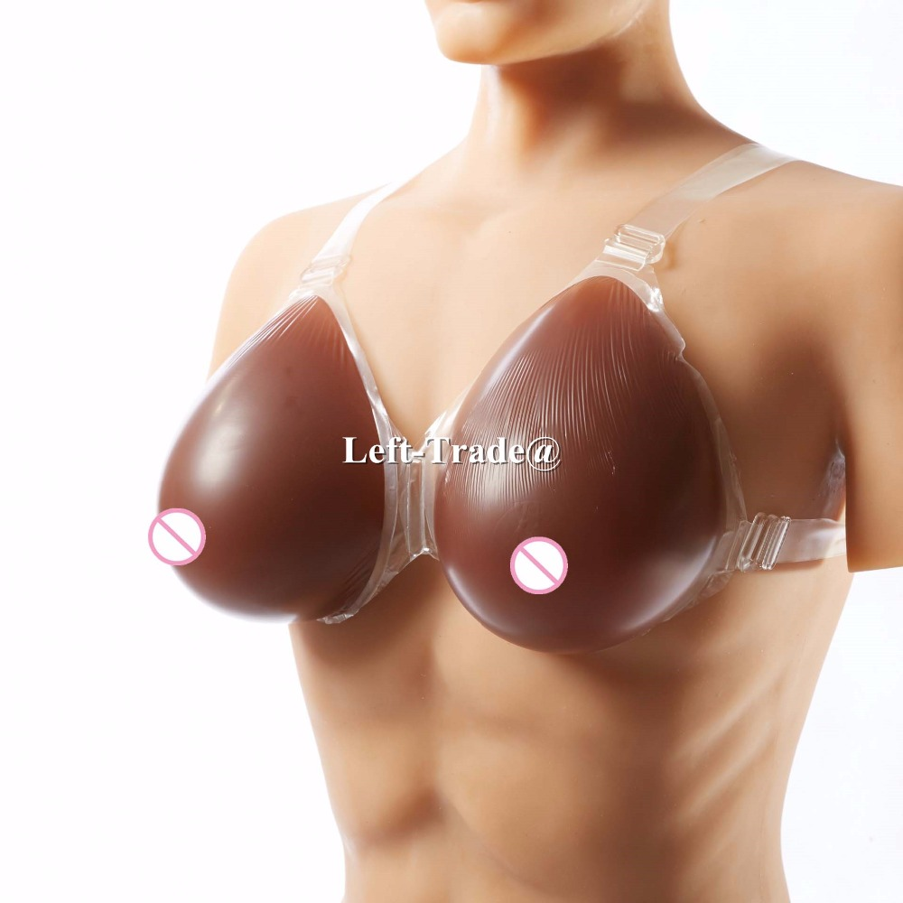 ФОТО 5XL F cup 1800g/pair dark silicone breast enhancers wearable breasts boobs for crossdressing men to female