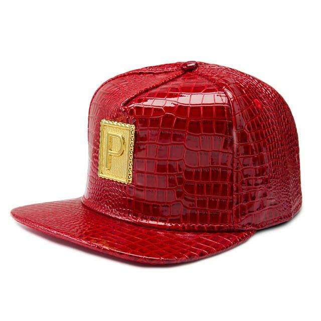 Online Shop NYUK PU Leather Metal Gold P Logo Baseball Cap Hats Hip Hop Rap  Punk Hat Golden Silver Black Red Adjustable Women Men Cool Boy  b610ec0e489