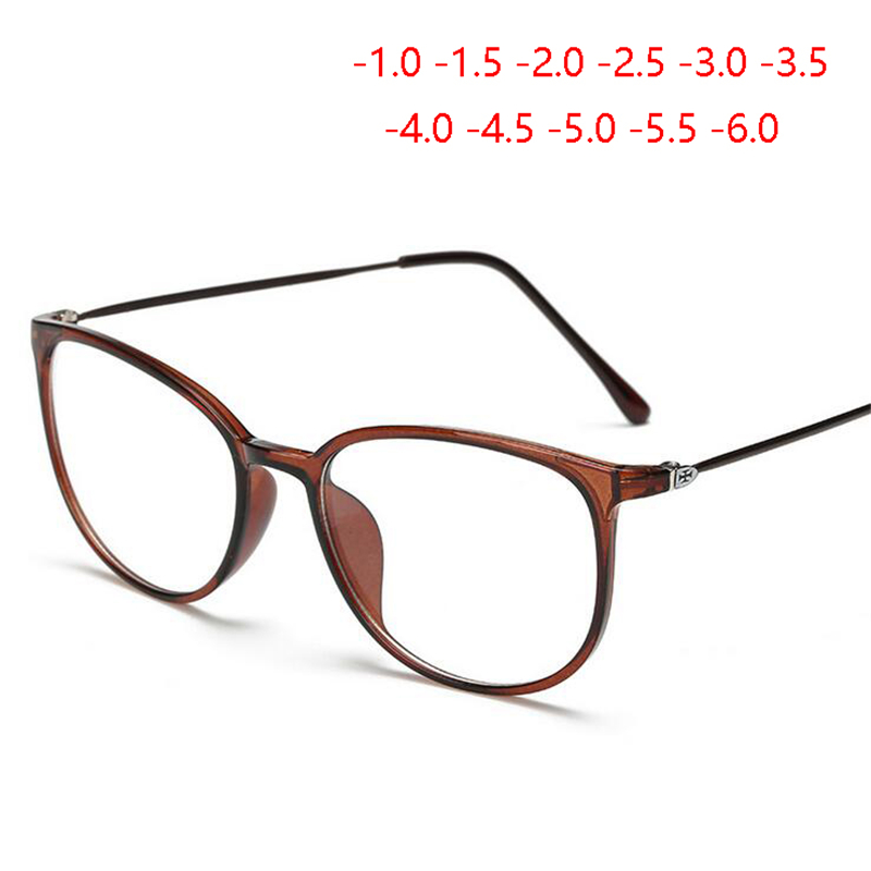 Ultralight TR90 Finished Myopia Glasses Women Men Retro Oval Student Short-sighted Glasses Diopter -0.5 -1.0 -1.5 -2.0 To -6.0