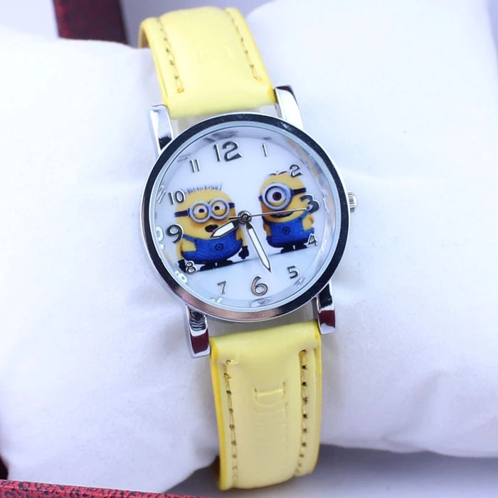 Stealing Dad Big Eyes, Cute Boys And Girls Kids Despicable Me Belt Quartz Watch