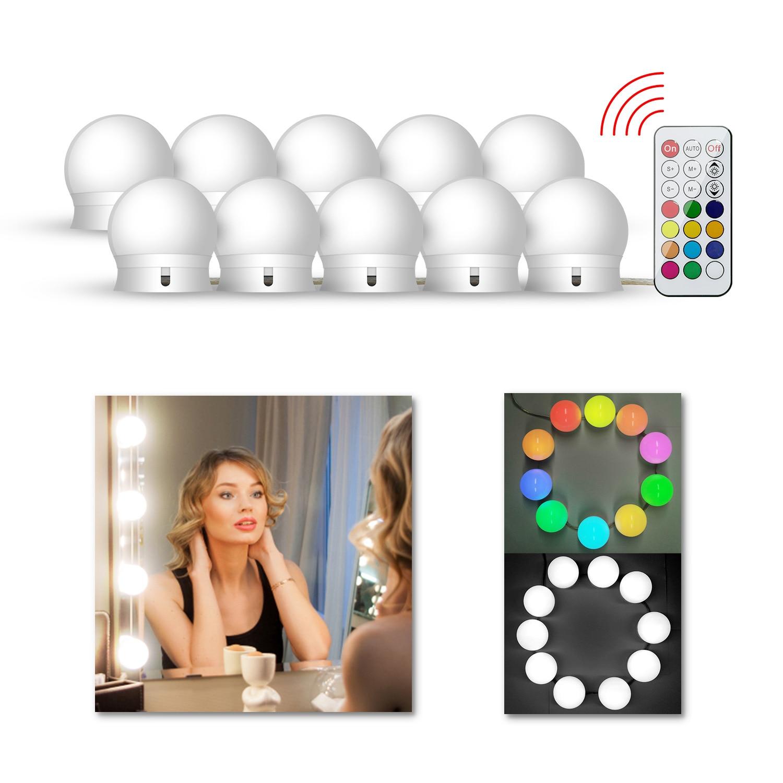 LEDGLE RGB Vanity Mirror Light Kit USB Fairy String Lights Decorative LED For Hollywood Makeup Dressing Table Lamp Espejo Luz 5W