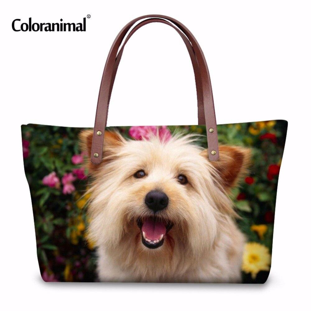Coloranimal Designer Brand Women Handbag 3D Cute Animals Dog Printed Tote Bag Ladies Shoulder Bag Portable Travel Shopping Bags