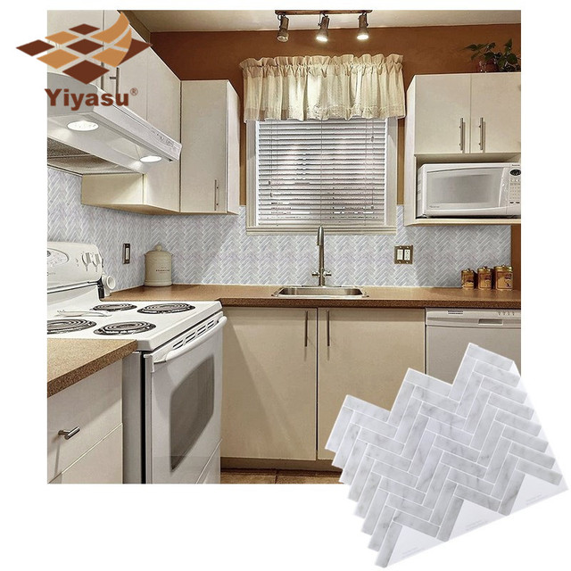 Self Adhesive Mosaic Tile White Gray Marble Herringbone Wall Decal Sticker Diy Kitchen Bathroom Home Decor