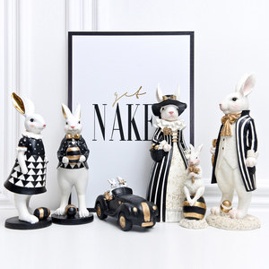 Image 2 - אמריקאי משפט כפרי אור יוקרה ארנב פסלוני מלאכת שחור זהב מתגעגע ארנב נורדי סגנון עיצוב הבית אבזרים