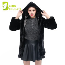 2018 New Women Mink Fur Faux fur Coat Hooded Female Winter Thick Warm Long Sleeve Black Faux Fur coats Overcoat Parka(China)