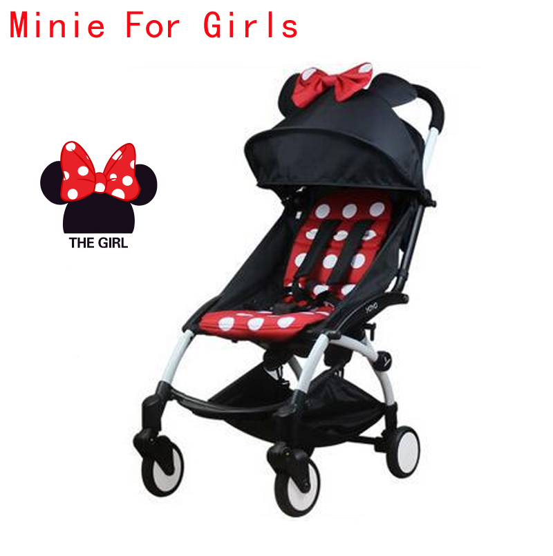 Hot France Israel In Stock Easy Folding Baby Stroller With Umbrella Trolley Stroller Minnie White Frame Pram 10 Accessory Gifts