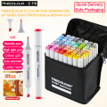 FINECOLOUR EF100 36/48/60/72 Kleuren Art Sketch Markers Anime Pen Set Voor School Student Ontwerp tekenen Brush Marker Art Supplies