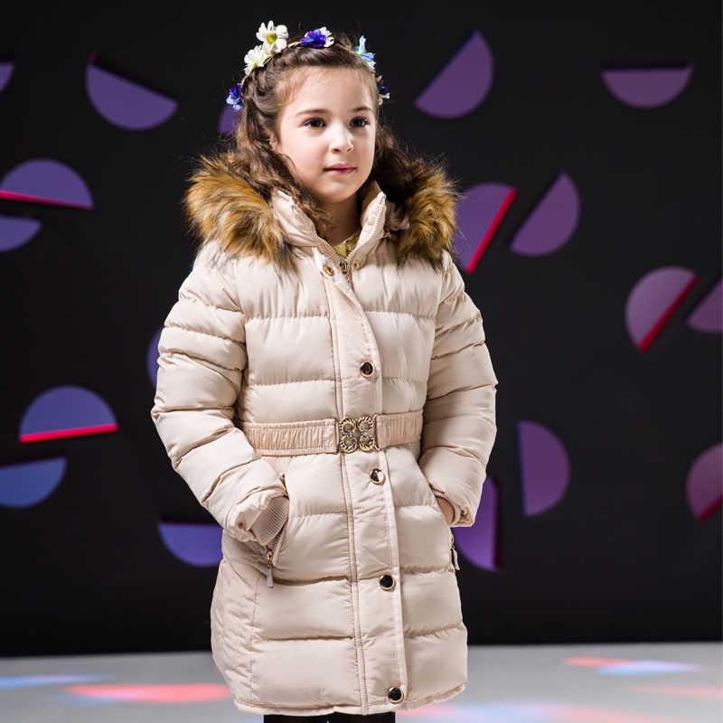 여자 겨울 코트 후드 모피 칼라 어린이 자 켓 코 튼 파 카 코트 아이 겨울 아우터 Thicken Warm Clothes Girls Clothing
