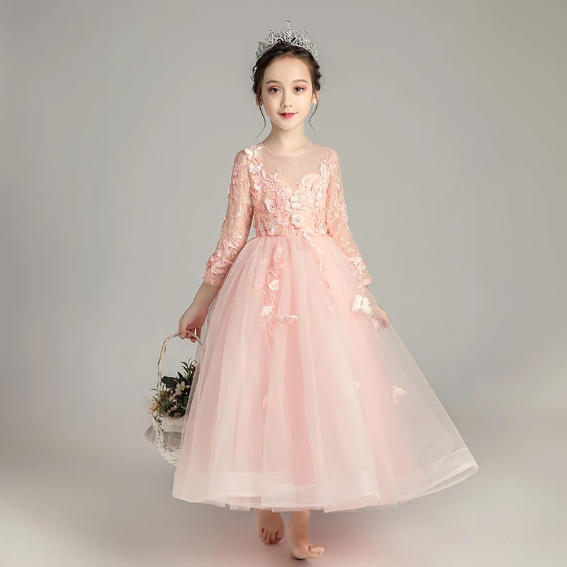 2018 Autumn Elegant Flowers Princess Costume Dress for Girls Children Sweet Pink Lace Birthday Wedding Party Long Sleeves Dress pink lace up design cold shoulder long sleeves hoodie dress