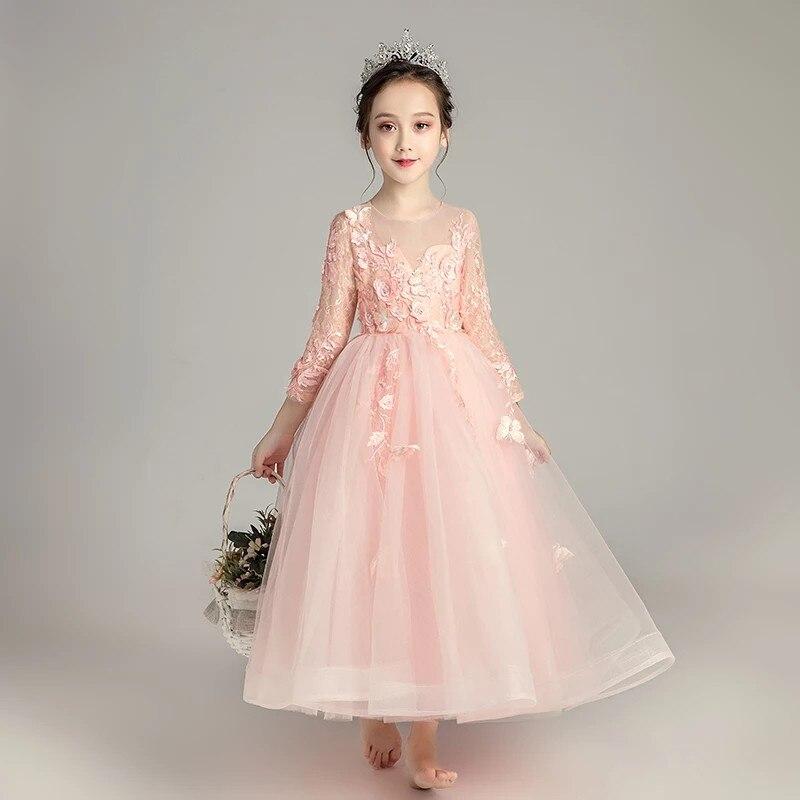 2018 automne élégant fleurs princesse Costume robe pour filles enfants doux rose dentelle anniversaire mariage fête à manches longues robe