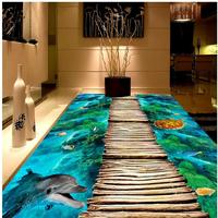 Modern Custom 3D Floor Mural Blue Ocean Dolphins And Sea Turtles To Painting Self Adhesive PVC