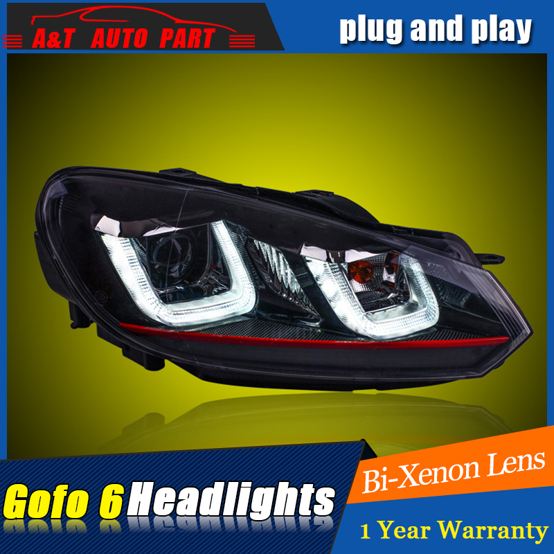 A&T Car Styling For VW golf 6 headlights 2009-12 For golf 6 LED head lamp Angel eye led DRL front light Bi-Xenon Lens xenon HID auto pro vw golf 7 headlights q5 bi xenon lens led angel eyes drl vw golf mk7 head lamps car styling h7 xenon led light guide