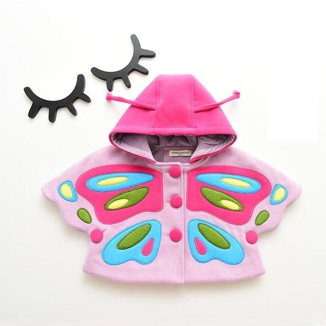 2017 новое прибытие моды прекрасные девушки большая бабочка одежда 1-6 летний женский ребенка плащ плащ пальто детская твид пальто