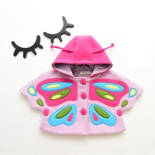 2017 new arrival fashion lovely girl's large butterfly clothes 1-6 year-old female baby cloak cape coat children's tweed coat