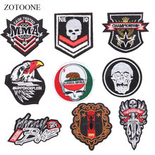 ZOTOONE Badge Patches Letter Skull Stickers Diy Iron on Clothes Heat Transfer Applique Embroidered Applications Cloth Fabric G zotoone round punk patches diy skull stickers iron on clothes heat transfer applique embroidered applications cloth fabric g