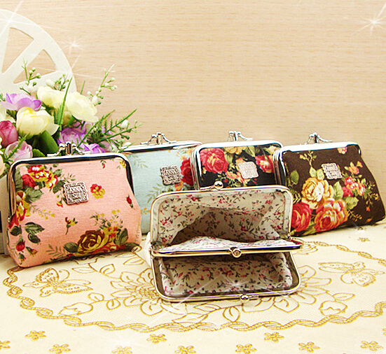 11*10cm Small Floral Coin Purses Flowers Lady Hasp Cotton Fabric Key Storage Bag flowers floral couture motorola droid 2 skinit skin