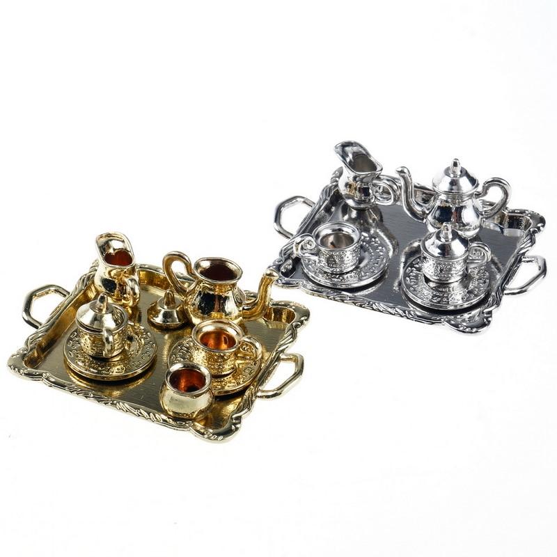 1:12 Dollhouse Miniature Furniture European Royal Style Metal Tea Set Golden Silver Purple Bronze Teacup Teapot Doll Accessories 1 12 cute mini dollhouse miniature furniture accessories dollhouse decoration 4pcs
