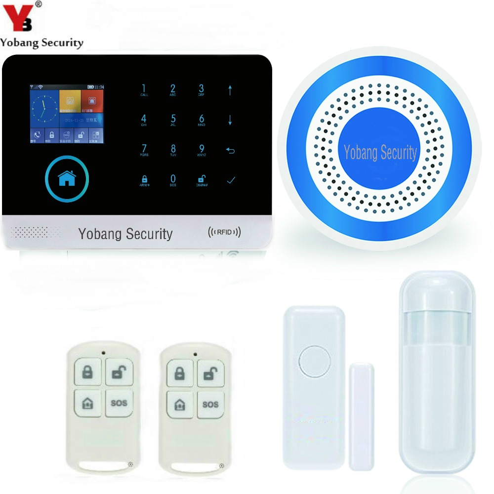 Yobang Security-WIFI APP Smart Burglar GSM Alarm System with PIR detector Outdoor Red Strobe Siren Alert Auto Dial Home Alarme smart pir mp alert a9 anti theft monitor detector gsm alarm system for home