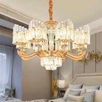 Lâmpadas moderno Pingente de Cristal de Luxo Europeu Pingente Luzes de Fixação 6/8/15 Lâmpada de Cristal Lâmpada de Suspensão Home Hotel iluminação interior