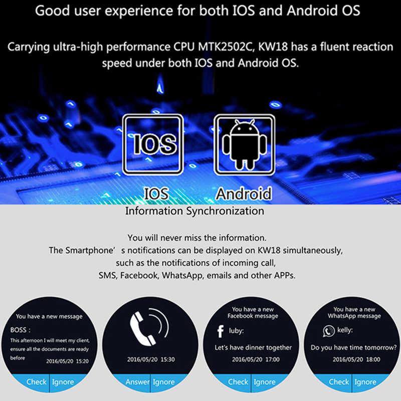 Reloj inteligente hombres KW18 Bluetooth умные часы Corazón del podómetro SIM Smartwatch Respuesta de llamada TF teléfono Watchсмарт ча para Android IOS