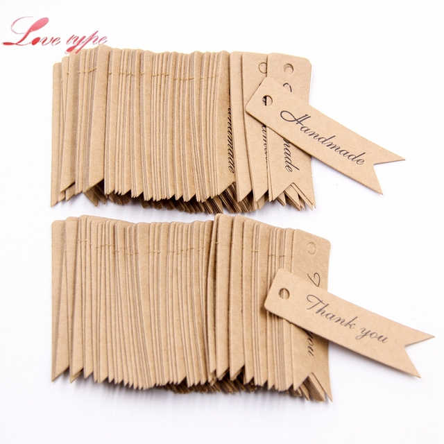 100pcs handmade thank you diy kraft paper tag dovetail shapes label